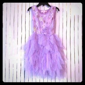 Girls Purple Dress with Layered Tulle Size 5/6